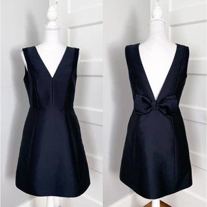 NWT Kate Spade Navy Blue Open Back Bow Structured Mini A-Line Dress Ink Size 6